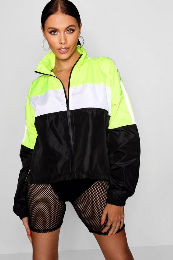 Womens Neon-green Reflective Panelled Wind Breaker