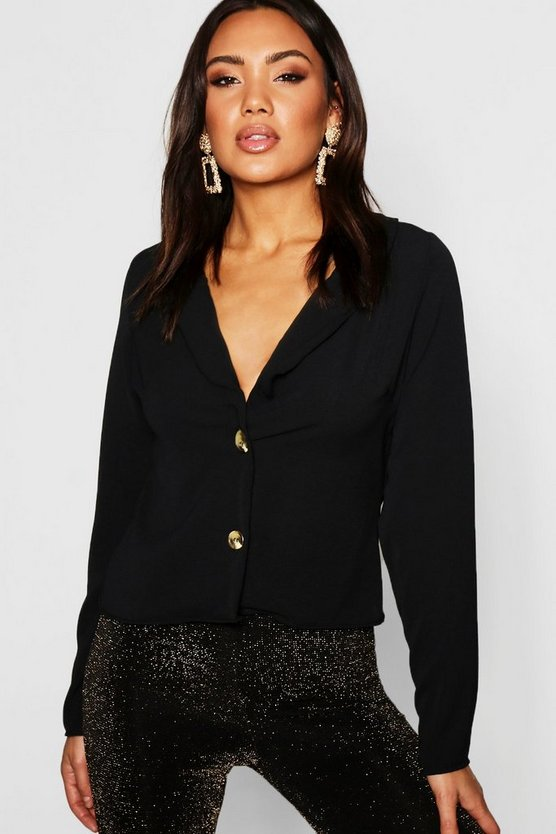 Womens Black Lapel Horn Button Blouse