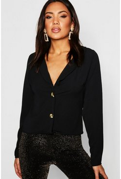 Lapel Horn Button Blouse, Black, DAMEN