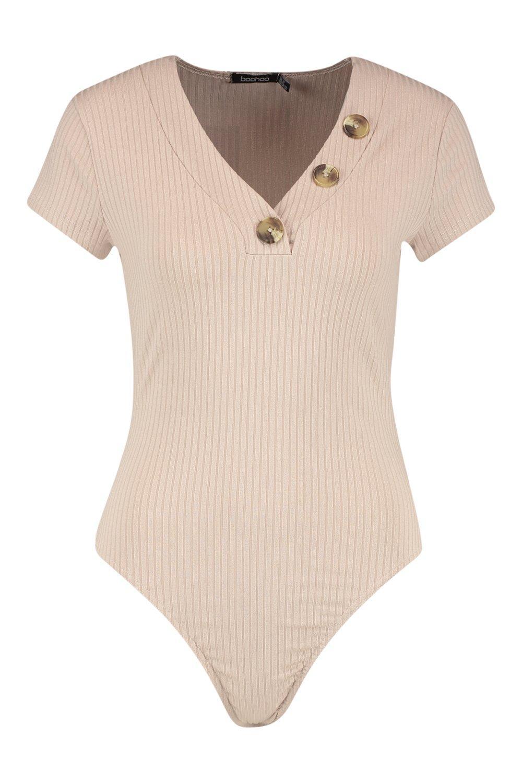 Rib Rib Horn sand Horn Bodysuit Button Bodysuit sand Button w7dqISrw
