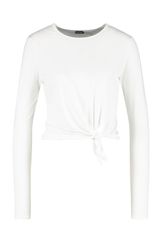 Sleeve Knot T Shirt Long Basic white Front 8tdqwnH0