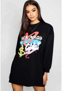 Womens Black Graffiti Oversized Sweat Dress