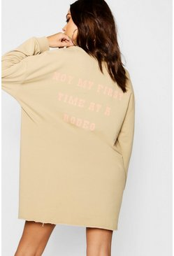 Womens Taupe Western Back Print Oversized Sweat Dress