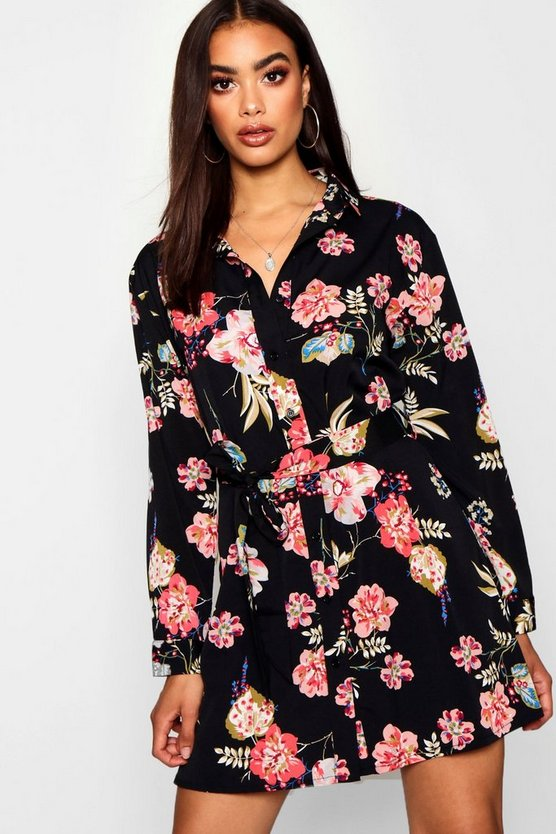 Dark Floral Tie Waist Shirt Dress