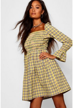 Yellow Square Neck Checked Smock Dress