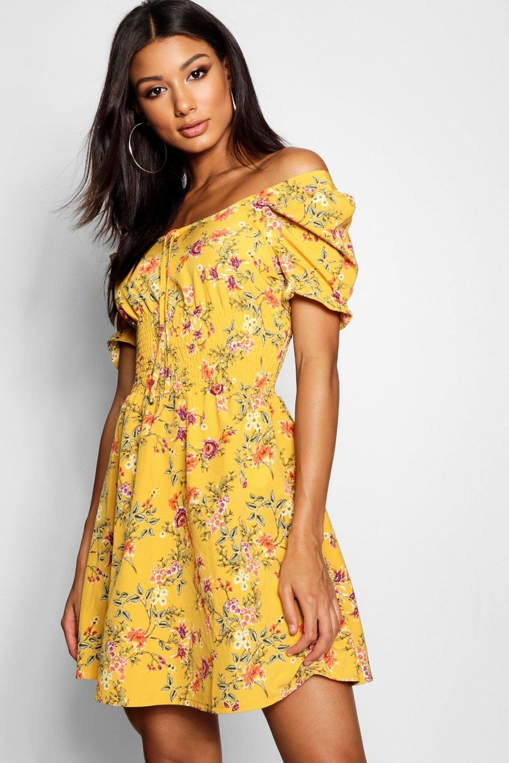 Shirred Waist Floral Puff Sleeve Skater Dress  85088e2eb