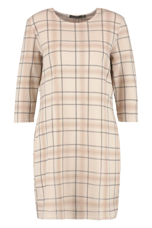 3 Sleeve 4 Tonal Dress Check Shift 74Tw75OYq