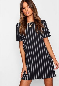 Mono Stripe Shift Dress, Black, Donna