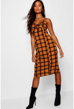 Womens Mustard Check Tie Front Midi Dress