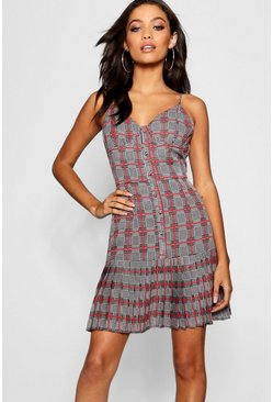 Womens Grey Pleated Hem Button Through Check Shift Dress