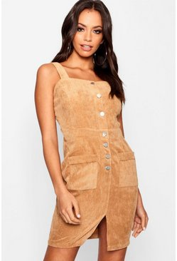 Womens Tan Chunky Cord Mini Pinafore Dress