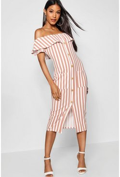 Bardot Tonal Stripe Midi Dress, Nude, FEMMES