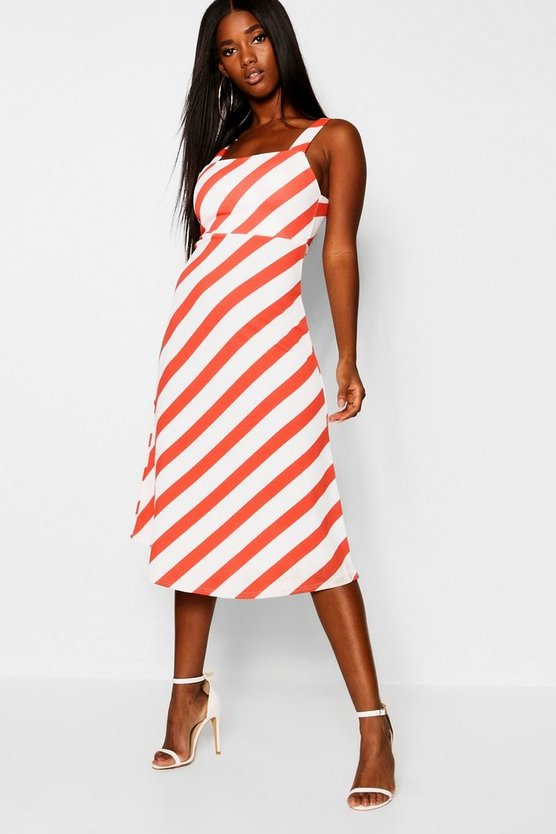 Chevron Stripe Midi Skater Dress