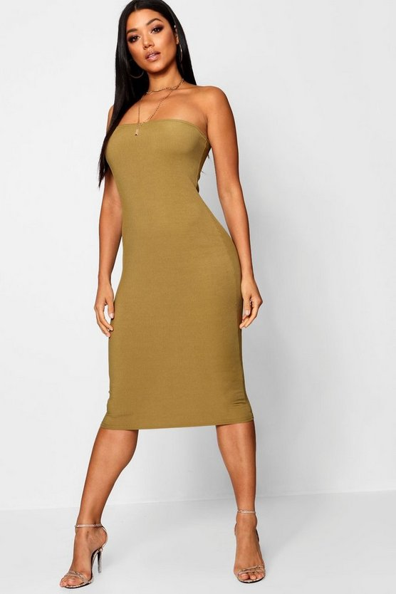 Bandeau Ribbed Midi Dress