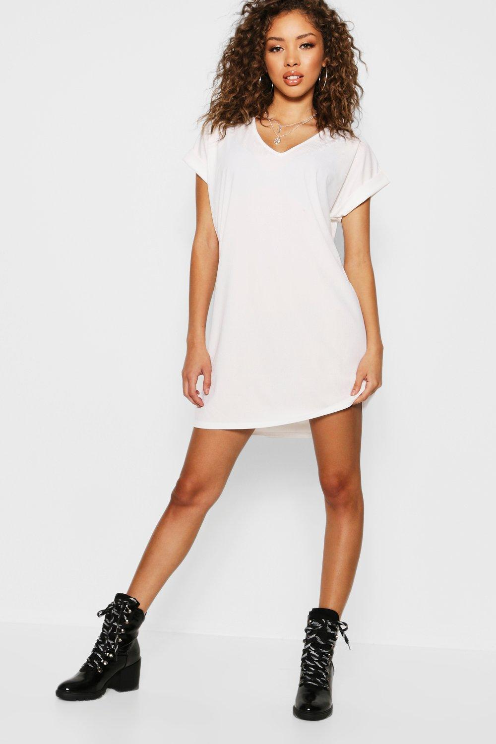 748cfc0648a4 Ribbed V Neck Oversized T-Shirt Dress. Hover to zoom
