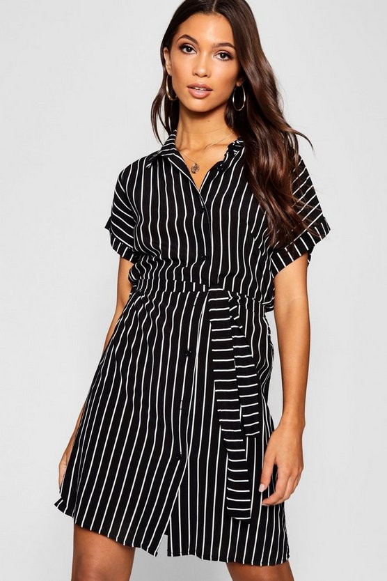 Woven Stripe Belted Shirt Dress