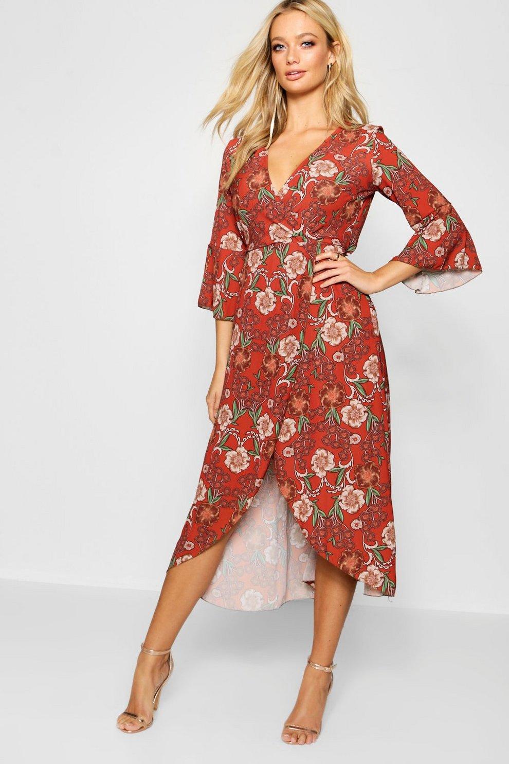 5138aa82bc65 Floral Tie Waist Wrap Front Maxi Dress
