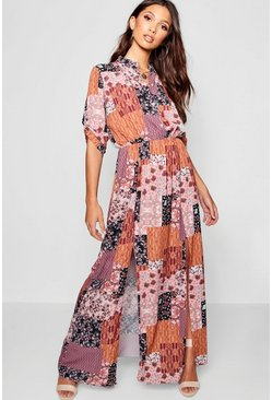 Womens Brick Bohemian Print Double Split Maxi Shirt Dress