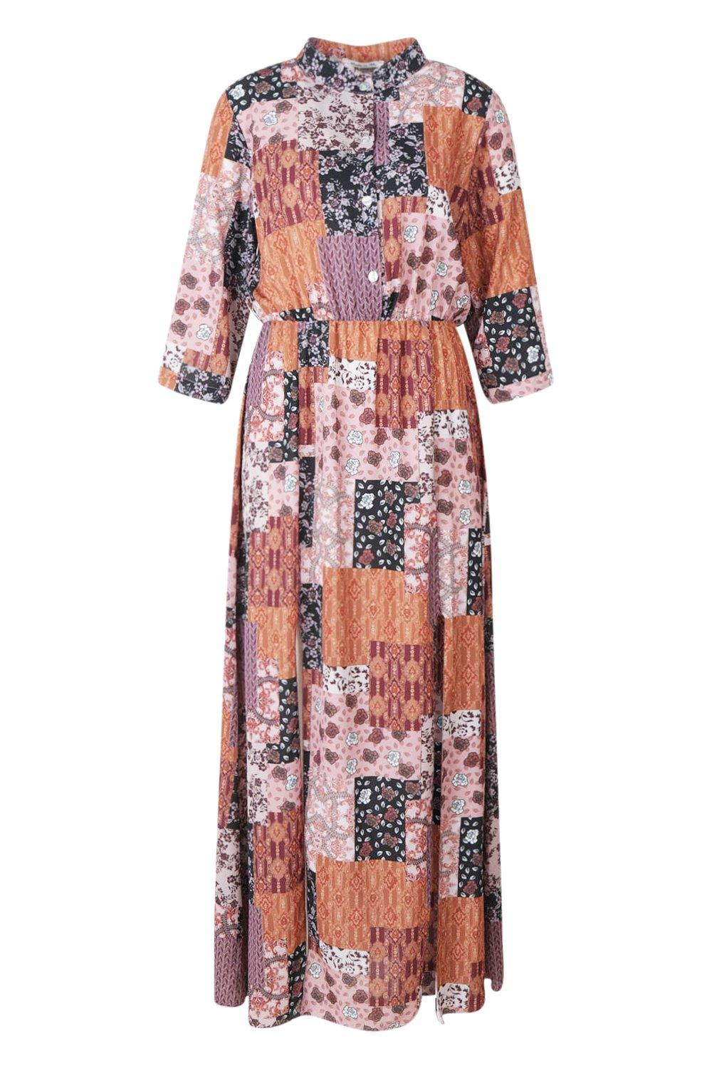 Dress Shirt Print Split Double Maxi Bohemian A0Xaqn