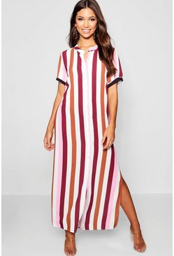 Womens Brick Tonal Stripe Collarless Shirt Dress