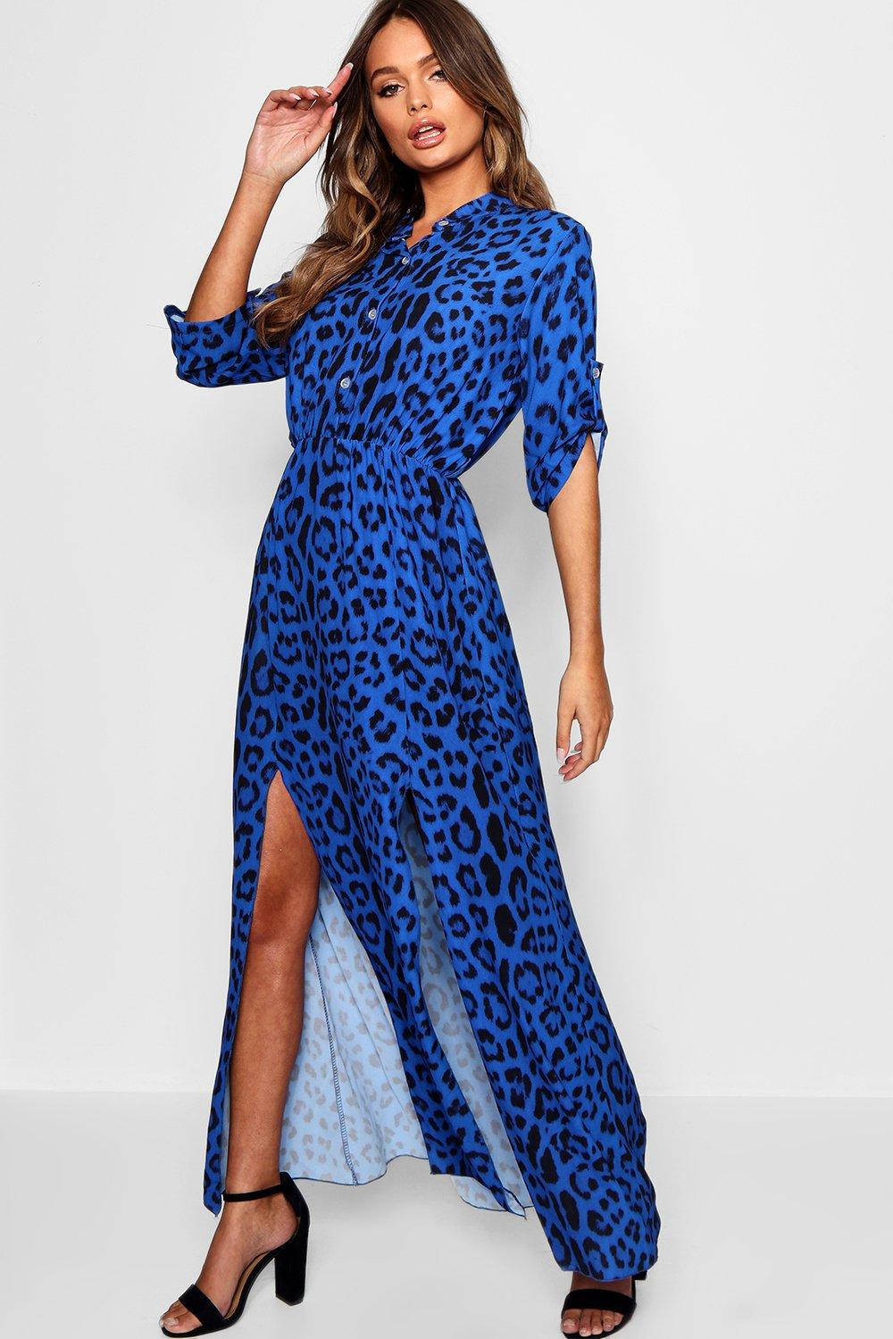 7a7912e695 Leopard Print Double Split Maxi Shirt Dress. Hover to zoom