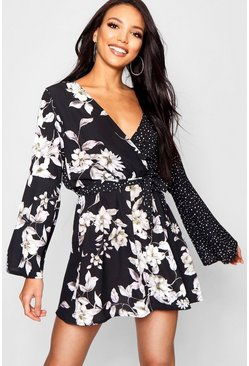 Womens Black Mixed Print Flared Sleeve Skater Dress