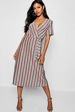 Metallic Stripe Wrap Midi Dress