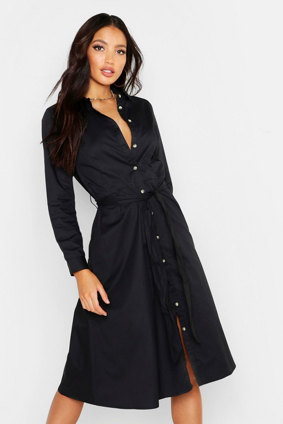 09a30138436 Belted Utility Midi Shirt Dress