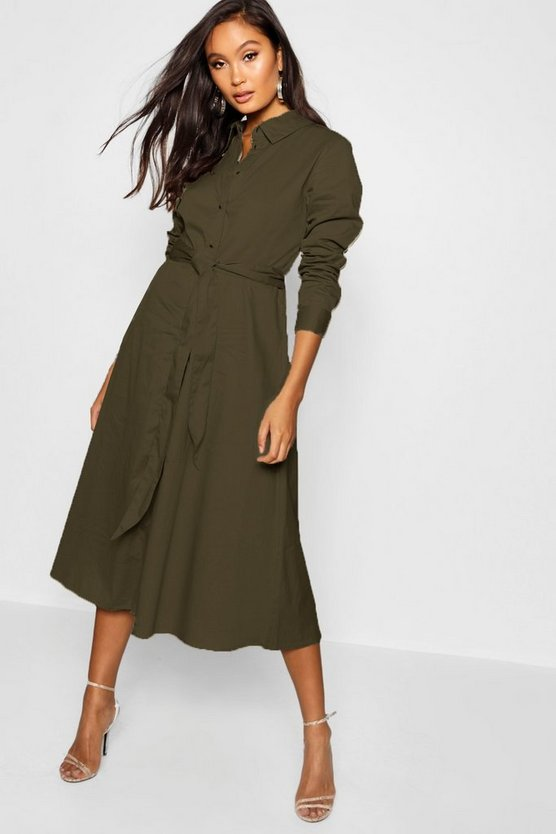 Khaki Belted Utility Midi Shirt Dress