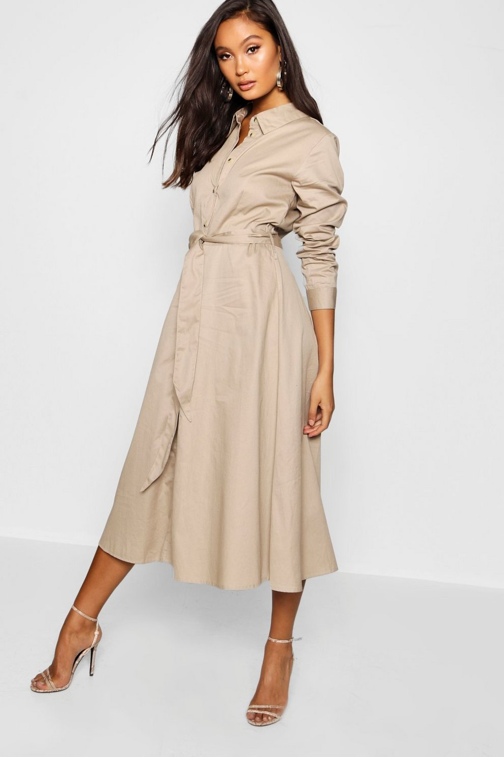 b2bc40af8d6 Womens Stone Belted Utility Midi Shirt Dress. Hover to zoom