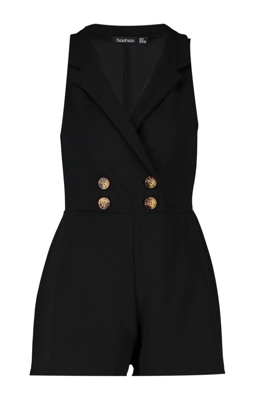 Button Sleeveless black Playsuit Blazer Horn 6HRCqRxP