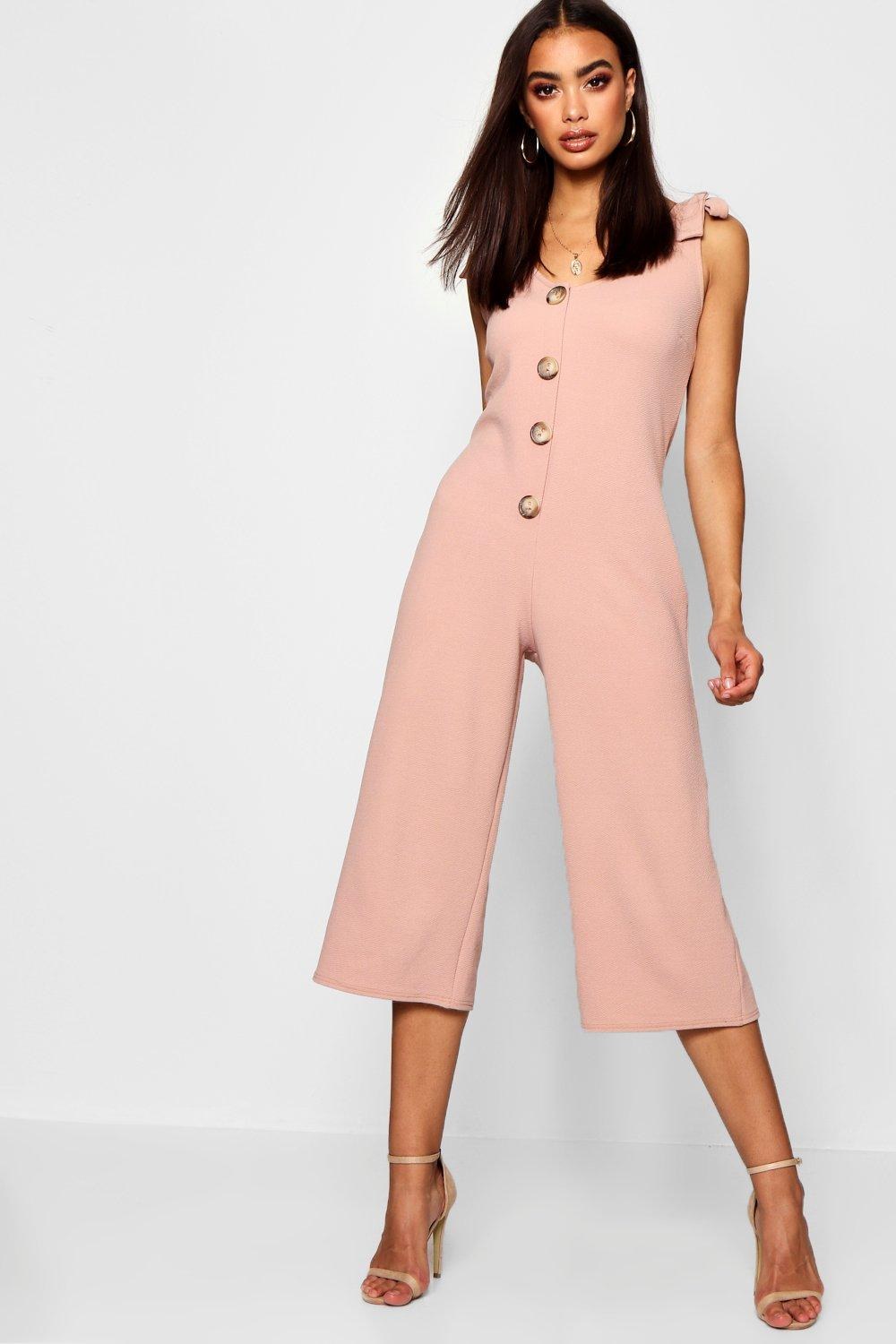 d65ec273604 Horn Button Detail Swing Jumpsuit. Hover to zoom