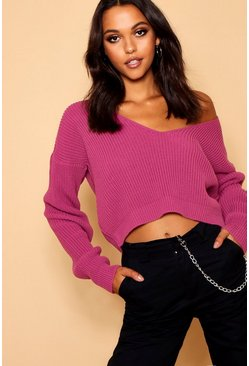 Womens Pink V Neck Fisherman Crop Jumper