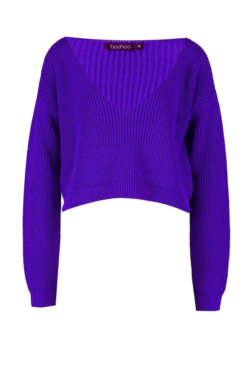 Jumper purple Neck V Crop Fisherman wqxtnTI1