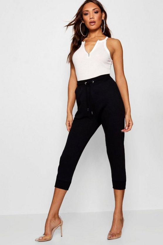 Black Cropped Basic Sweat Joggers