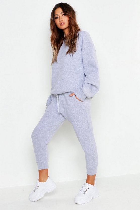 Womens Blue Cropped Basic Sweat Joggers
