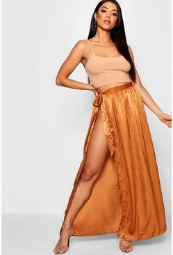 Womens Turmeric Woven Hammered Satin Tie Maxi Skirt