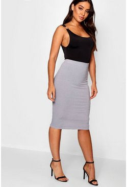 Womens Grey Ribbed Midi Skirt