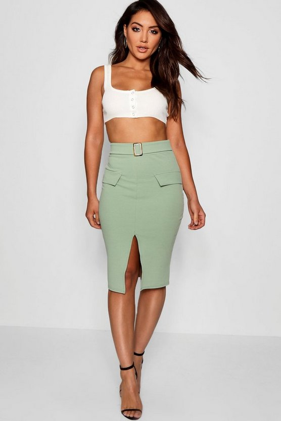 Pocket Front Mock Horn Belt Split Midi Skirt