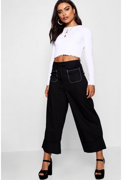 Womens Black Cargo Pocket Woven Contrast Stitch Culottes