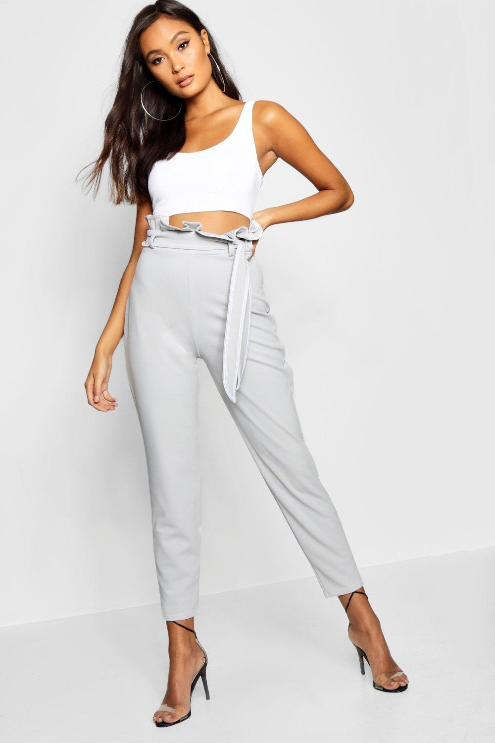 grey Paperbag Contrast Stitch Skinny Trouser qUcaHHpwB