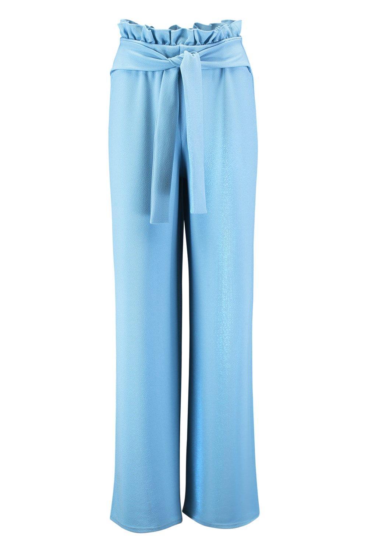 Tie Trouser Wide Leg Crepe blue Waist Paperbag fzqxS5g