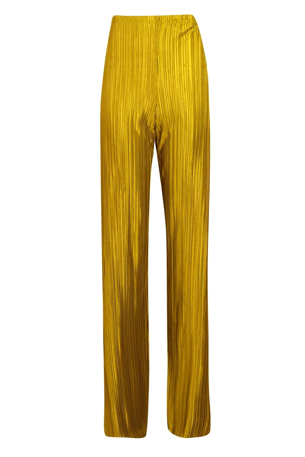 Trousers Pleated Side Leg mustard Wide Split qInxZ6wSp