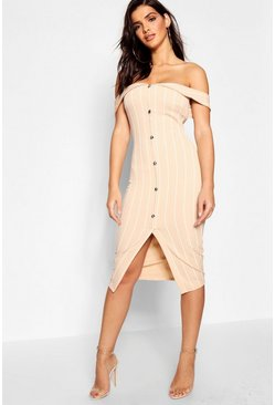 Womens Stone Stripe Off The Shoulder Button Midi Dress