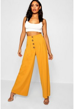 Womens Mustard Mock Horn Button High Waist Pants