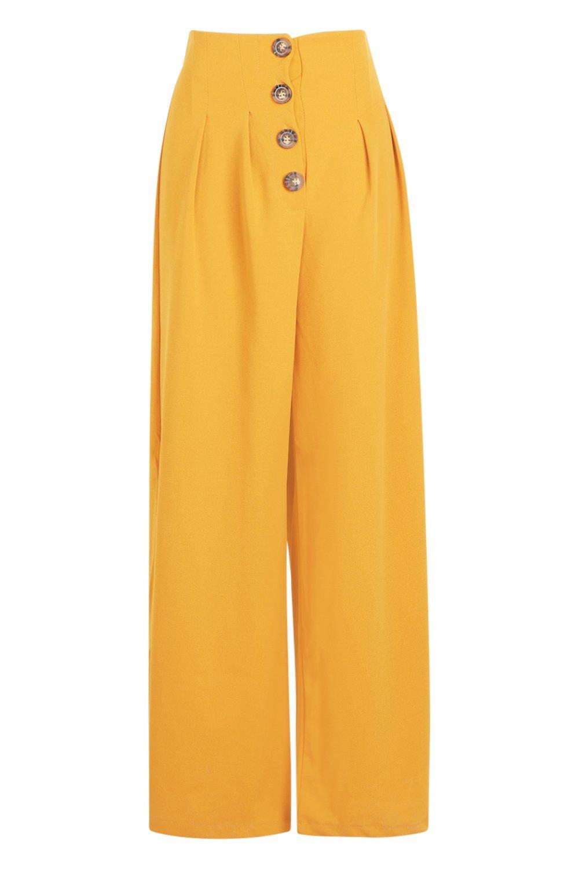 Button Trouser Waist Mock Horn High mustard OSzFf0q