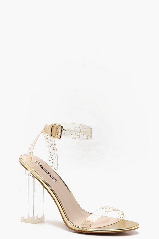Womens Gold Glitter Clear 2 Part Block Heels