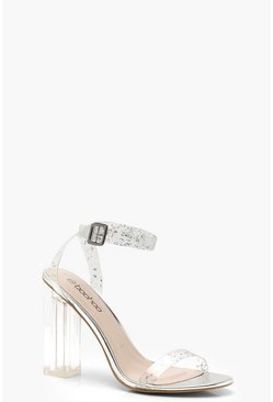 Glitter Clear 2 Part Block Heels, Silver