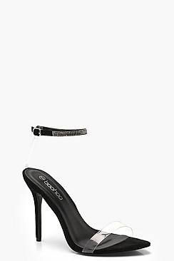Pointed Toe Diamante & Clear 2 Part Heels