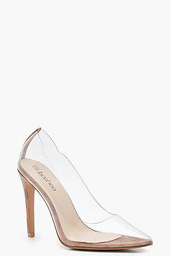 Contrast Check Clear Pointed Heel Court Shoes